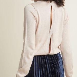 Modcloth Cutout Back Rose Gold Metallic Sweater